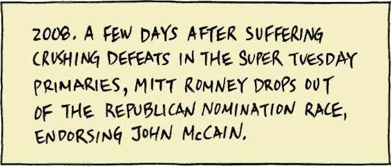 2008. A few days after suffering crushing defeats in the Super Tuesday primaries, Mitt Romney drops out of the Republican nomination race, endorsing John McCain.
